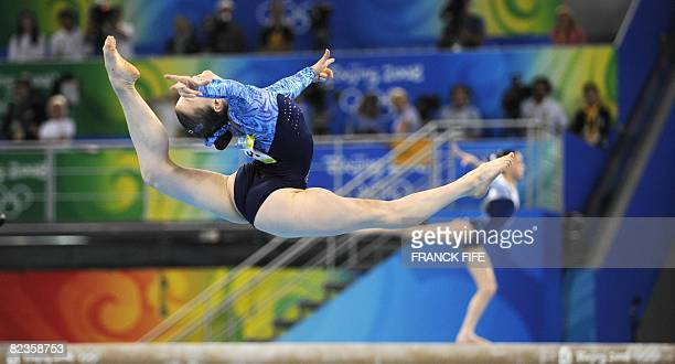 Russia's Anna Pavlova competes on the floor during the women's individual allaround final of the artistic gymnastics event of the Beijing 2008...