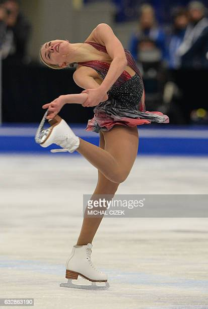 Russia's Anna Pogorilaya competes during the ladies free skating competition of the European Figure Skating Championship in Ostrava Czech Republic on...