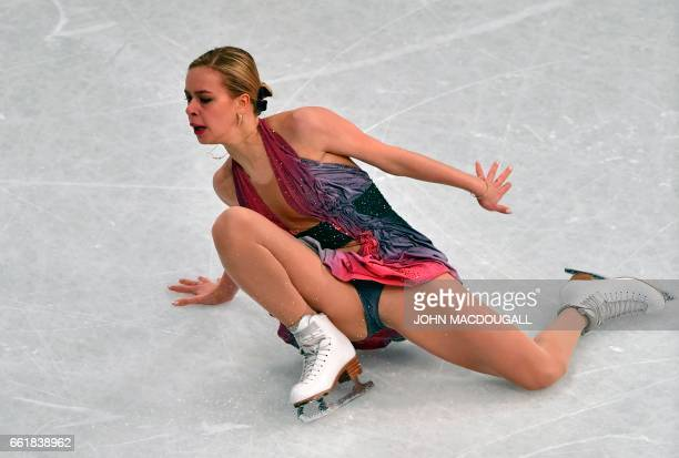Russia's Anna Pogorilaya falls a second time during her routine in the woman's Free Skating event at the ISU World Figure Skating Championships in...