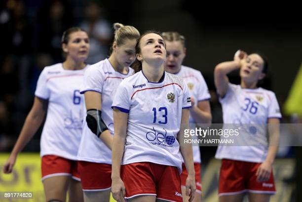 Russia's Anna Vyakhireva reacts after her team lost the IHF Womens World Championship handball quater final match between Norway and Russia on...