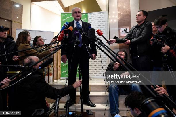 Russia's anti-doping agency director general Yury Ganus holds a press conference in Moscow on December 9, 2019. - Russia will miss next year's Tokyo...