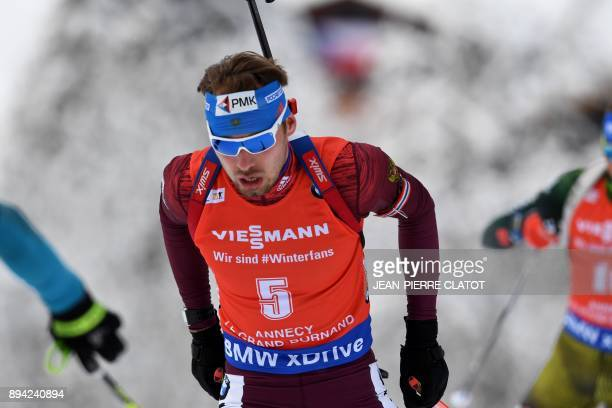 Russia's Anton Shipulin competes during the 15 km men's Mass Start at the IBU World Cup Biathlon 3 in Le Grand Bornand on December 17 2017 / AFP...