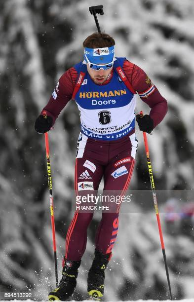 Russia's Anton Shipulin competes in the Men's 125 km pursuit event at the IBU World Cup Biathlon in Le Grand Bornand on December 16 2017 / AFP PHOTO...