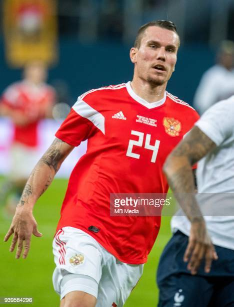 Russia's Anton Zabolotny looks on during the International friendly football match at Saint Petersburg Stadium on March 27 2018 in SaintPetersburg...