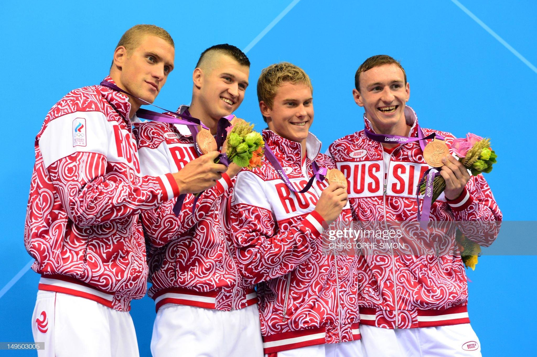Russia's bronze medalists Andrey Grechin : Fotografía de noticias
