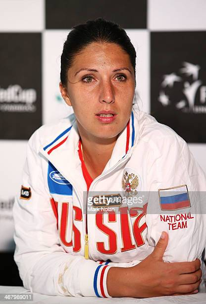 Russia's captain Anastasia Myskina talks to the media after the Fed Cup tie between Australia and Russia at the Domain Tennis Centre on February 9...