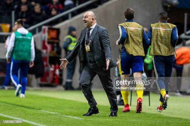 Russia's coach Stanislav Cherchesov during the UEFA Nations League B group two match between Sweden and Russia at Friends Arena on November 20 2018...