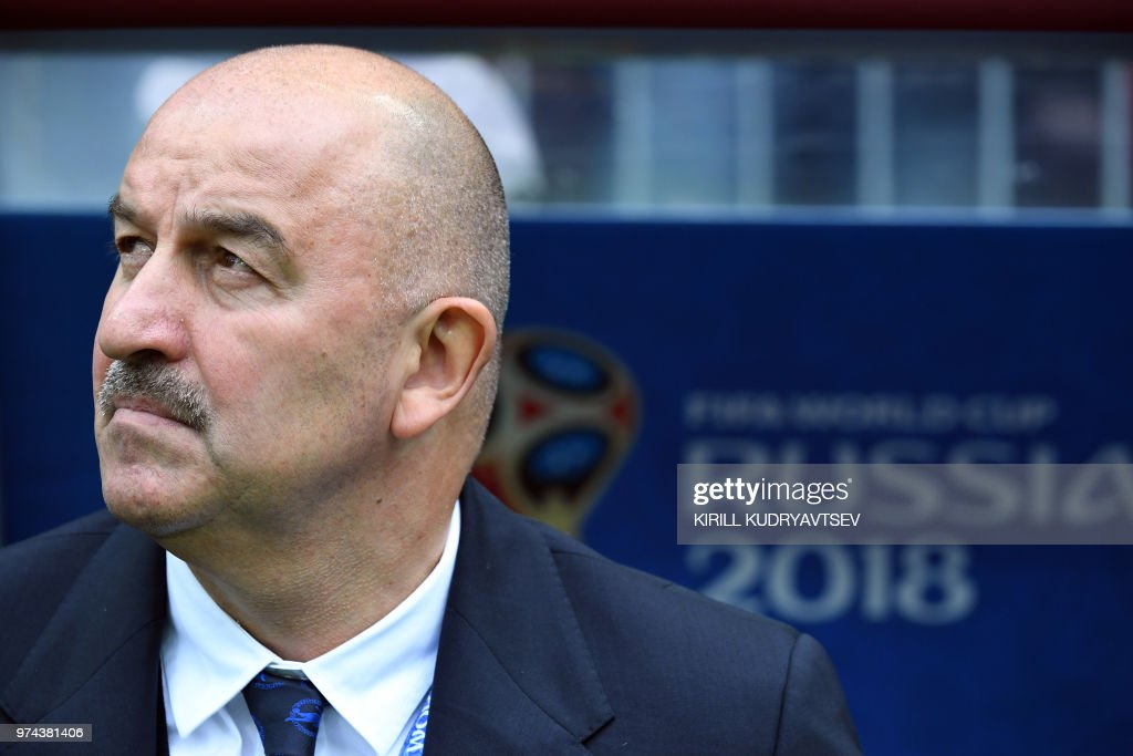 Russia's coach Stanislav Cherchesov looks on before the Russia 2018 World Cup Group A football match between Russia and Saudi Arabia at the Luzhniki Stadium in Moscow on June 14, 2018. (Photo by Kirill KUDRYAVTSEV / AFP) / RESTRICTED
