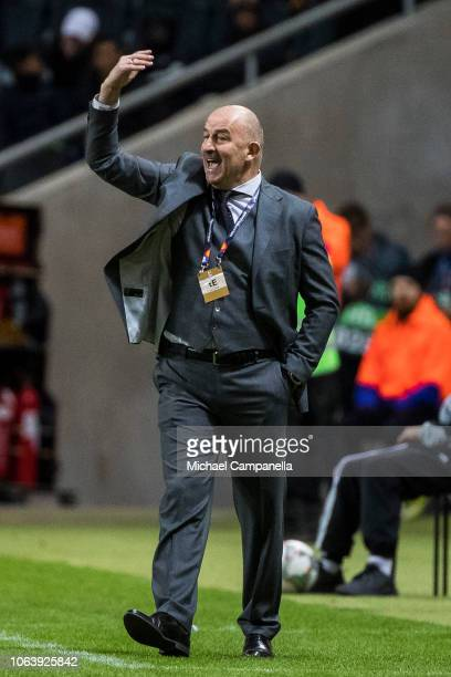 Russia's coach Stanislav Cherchesov reacts during the UEFA Nations League B group two match between Sweden and Russia at Friends Arena on November 20...