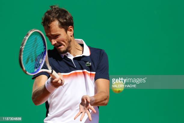 Russia's Daniil Medvedev plays a forehand return to Portugal's Joao Sousa during their tennis match on the day 3 of the MonteCarlo ATP Masters Series...