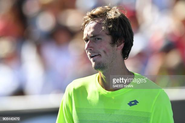 Russia's Daniil Medvedev reacts after a point against Australia's Thanasi Kokkinakis during their men's singles first round match on day two of the...