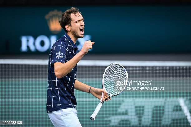 Russia's Daniil Medvedev reacts after winning a point against Germany's Alexander Zverev during their men's singles final tennis match on day 7 at...