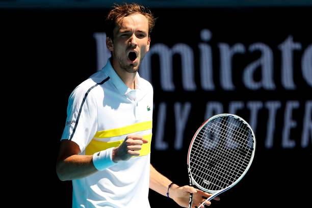 Russia's Daniil Medvedev reacts on a point against Mackenzie McDonald of the US during their men's singles match on day eight of the Australian Open...