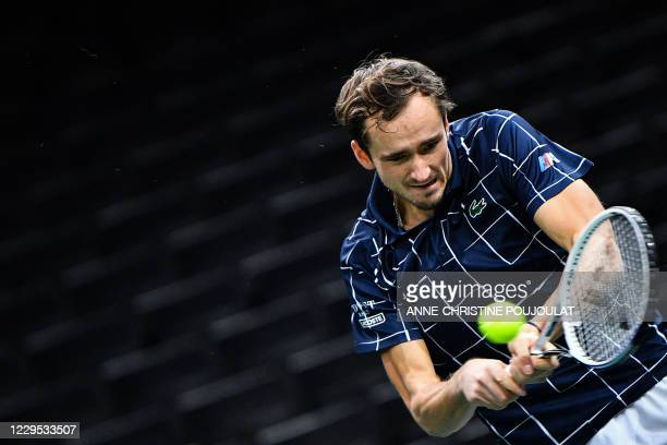 Russia's Daniil Medvedev returns the ball to Germany's Alexander Zverev during their men's singles final tennis match on day 7 at the ATP World Tour...