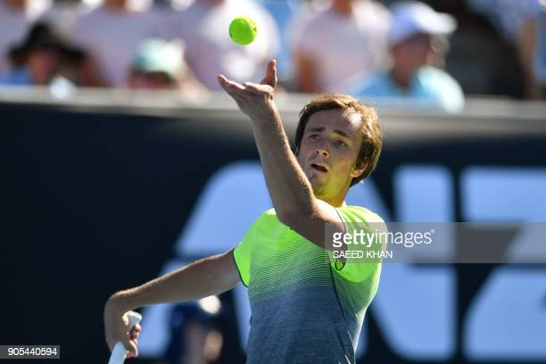 Russia's Daniil Medvedev serves against Australia's Thanasi Kokkinakis during their men's singles first round match on day two of the Australian Open...