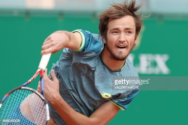 Russia's Daniil Medvedev serves to Japan's Kei Nishikori during their men's single match at the Monte-Carlo ATP Masters Series Tournament on April...