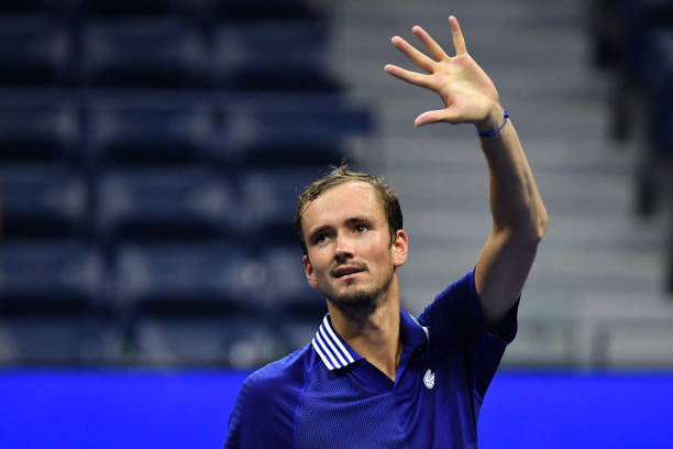 Russia's Daniil Medvedev waves after defeating France's Richard Gasquet during their 2021 US Open Tennis tournament men's singles first round match...