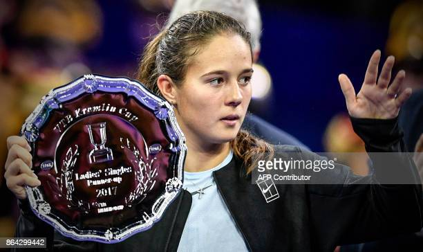 Russia's Daria Kasatkina poses with her runner's up trophy after her loss to Germany's Julia Goerges in the Kremlin Cup tennis tournament women's...