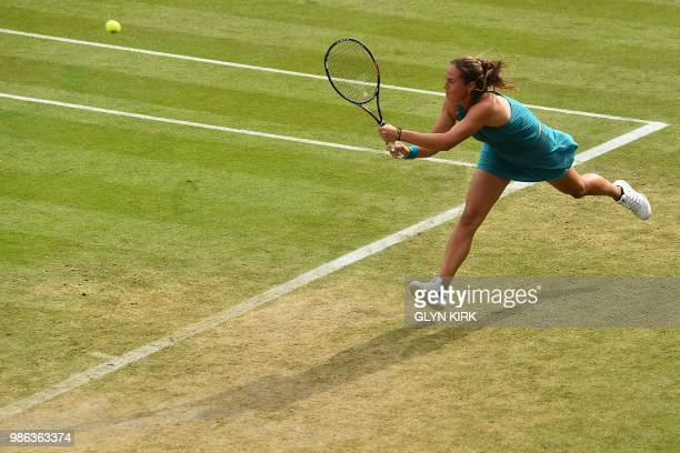 TOPSHOT Russia's Daria Kasatkina returns to Germany's Angelique Kerber during their women's singles quarter final match at the ATP Nature Valley...