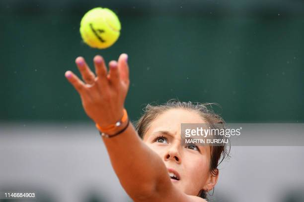 Russia's Daria Kasatkina serves the ball to Italy's Jasmine Paolini during their women's singles first round match on day three of The Roland Garros...
