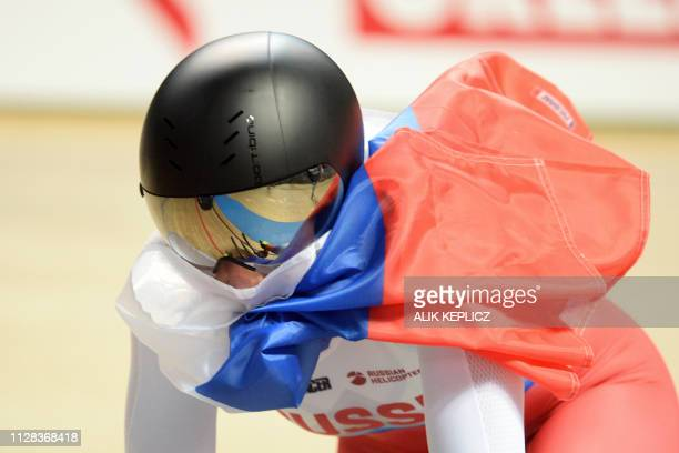 Russia's Daria Shmeleva celebrates after winning the Women's 500m Time Trial at the UCI Track Cycling World Championships in Pruszkow on March 2 2019