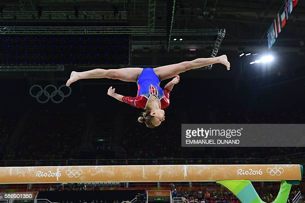 TOPSHOT Russia's Daria Spiridonova competes in the qualifying for the women's Beam event of the Artistic Gymnastics at the Olympic Arena during the...