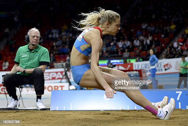Russia's Darya Klishina competes during Women's Long Jump qualification at the European Indoor Championships in Gothenburg Sweden on March 1 2013 AFP...