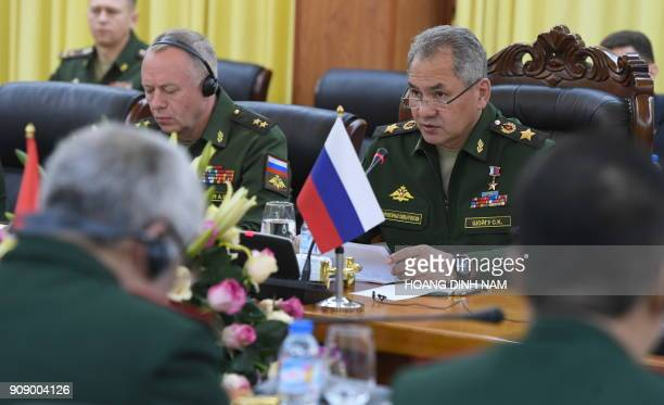 Russia's Defence Minister Sergey Shoygu speaks during his official meeting with his Vietnamese counterpart Ngo Xuan Lich at the Ministry of Defence...