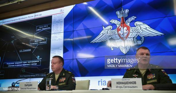 Russia's defence ministry spokesman Maj Gen Igor Konashenkov and the Chief of the Main Rocket and Artillery Department Lt Gen Nikolai Parshin attend...