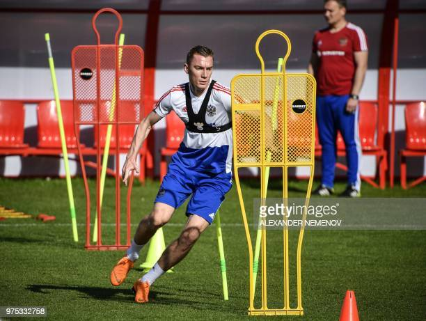 Russia's defender Andrei Semyonov attends a training session in Novogorsk outside Moscow on June 15 during the Russia 2018 World Cup football...