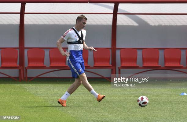 Russia's defender Andrei Semyonov attends a training session in Novogorsk outside Moscow on June 30 during the Russia 2018 World Cup