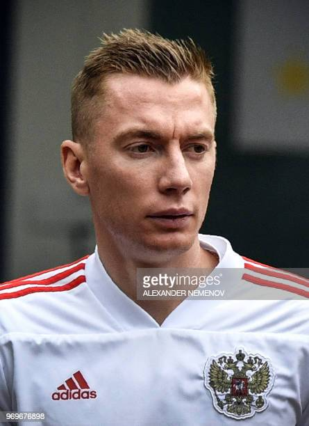 Russia's defender Andrey Semyonov attends a training session of the Russian national football team in Novogorsk outside Moscow on June 8 ahead of the...