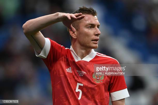 Russia's defender Andrey Semyonov gestures during the friendly football match Russia v Bulgaria in Moscow on June 5 in preparation for the UEFA...