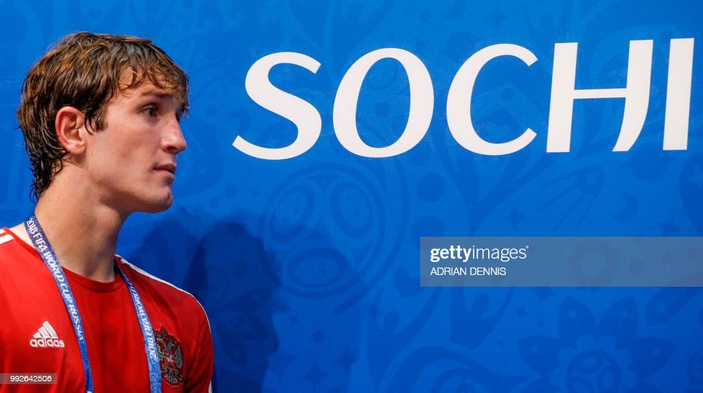 Russias Defender Mario Fernandes Arrives For A Press Conference At The Fisht Olympic Stadium In Sochi On July   On The Eve Of The Russia  Fifa