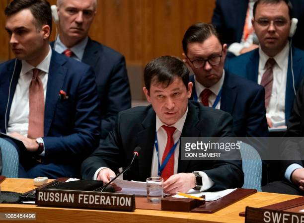 Russia's Deputy Ambassador Dmitry Polanski addresses the UNSC during a United Nations Security Council meeting on Ukraine November 26 2018 at the...