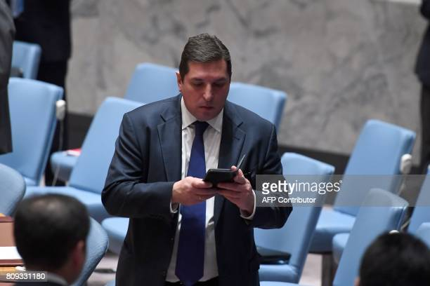 Russia's deputy United Nations ambassador Vladimir Safronkov arrives for a Security Council meeting on North Korea at the UN headquarters in New York...