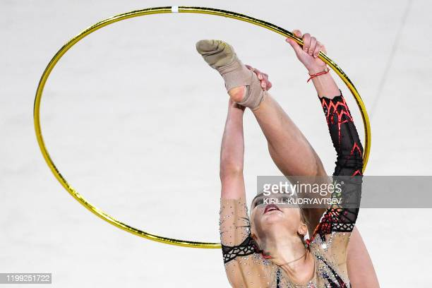 Russia's Dina Averina competes in the hoop event of the Rhythmic Gymnastics Alina Kabaeva's Champions cup in Moscow on February 7 2020