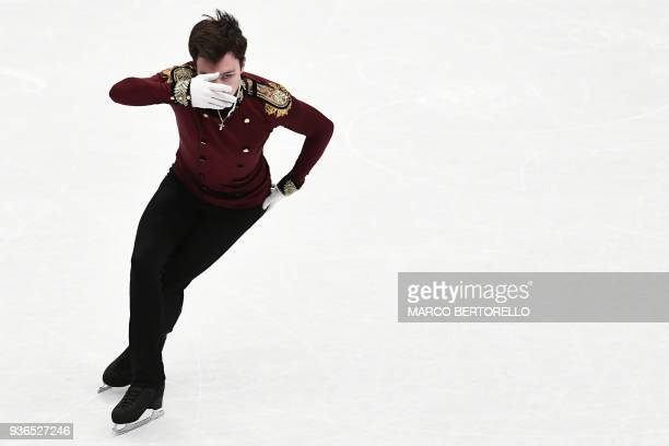 Russia's Dmitri Aliev performs during the Men's figure skating short program at the Milano World League Figure Skating Championship 2018 in Milan on...