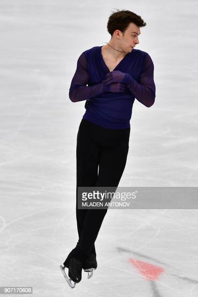 Russia's Dmitri Aliev performs in the men's free skating at the ISU European Figure Skating Championships in Moscow on January 19 2018 / AFP PHOTO /...