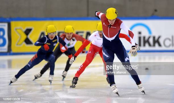 Russia's Dmitry Migunov wins during the 500m at the Short Track World Cup quarterfinals in the EnergieVerbund Arena in Dresden Germany 08 February...