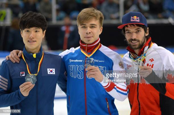 Russia's Dmitry Migunov won ahead of Canada's Francois Hamelin and South Korea's YoonGy Kwak in the 500m at the Short Track World Cup in the...