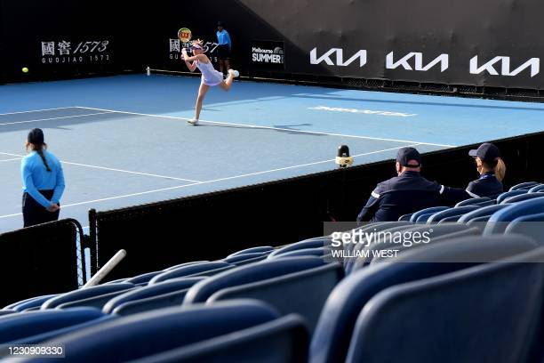Russia's Ekaterina Alexandrova hits a return against Slovakia's Anna Karolina Schmiedlova during their Gippsland Trophy women's singles tennis match...