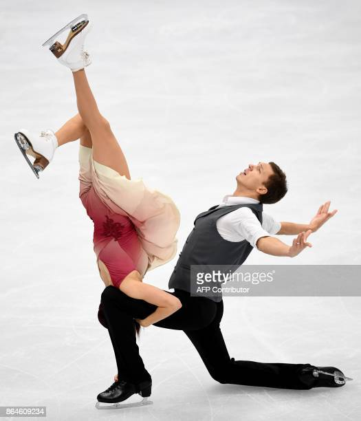 Russia's Ekaterina Bobrova and Dmitri Soloviev compete in the Ice Dance free dance at the ISU Grand Prix Rostelecom Cup in Moscow on October 21 2017...