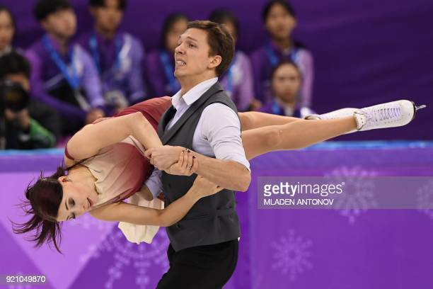 Russia's Ekaterina Bobrova and Russia's Dmitri Soloviev compete in the ice dance free dance of the figure skating event during the Pyeongchang 2018...