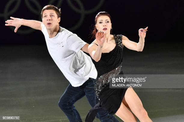 TOPSHOT Russia's Ekaterina Bobrova and Russia's Dmitri Soloviev perform during the figure skating gala event during the Pyeongchang 2018 Winter...