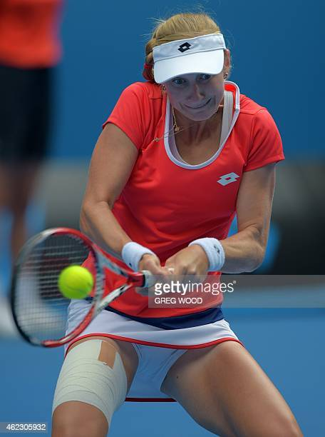Russia's Ekaterina Makarova plays a shot during her women's singles match against Romania's Simona Halep on day nine of the 2015 Australian Open...