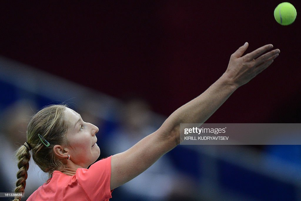 Russia's Ekaterina Makarova prepares to serve to Japan's Kimiko Date-Krumm during the International Tennis Federation Fed Cup quarterfinal match between Russia and Japan in Moscow on February 10, 2013.