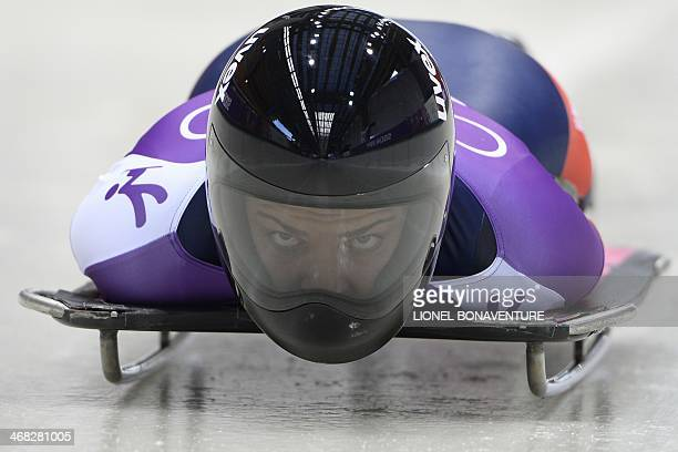 Russia's Elena Nikitina takes part in a women Skeleton official training at the Sanki Sliding Center in Rosa Khutor during the Sochi Winter Olympics...
