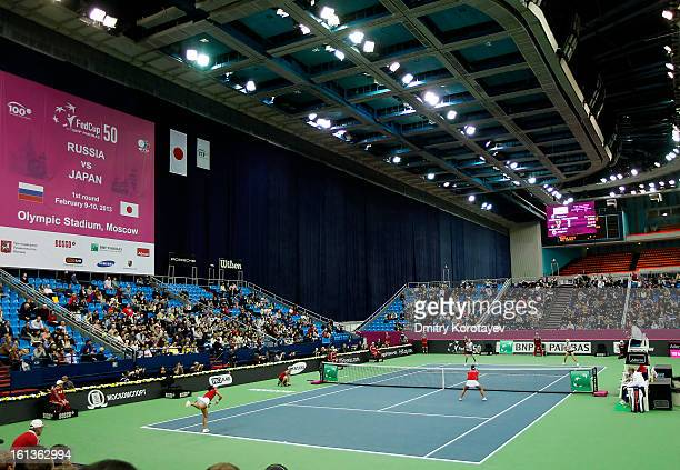 Russia's Elena Vesnina and Ekaterina Makarova in action during their doubles match against Japan's Ayumi Morita and Misaki Doi during day two of the...