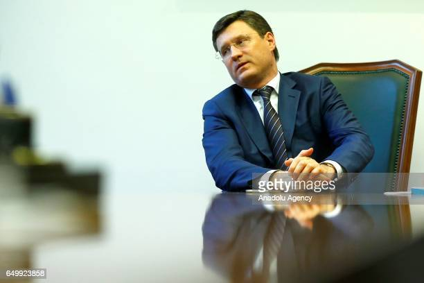 Russia's Energy Minister Alexander Novak answers speaks to press in Moscow Russia on March 6 2017